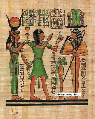 "Egyptian Papyrus Painting - Setti I the Priest & Hathor 8X12"" + Hand Painted #48"
