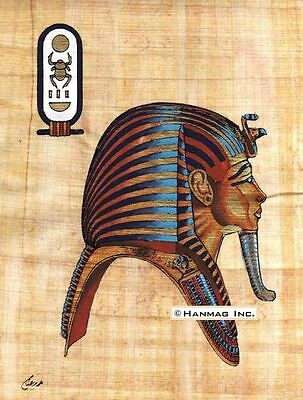 "Egyptian Papyrus Portrait King Tut Egypt Pharaoh 8X12"" + Hand-Painted"