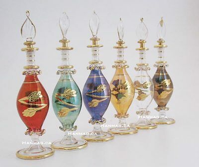 "One 6"" Egyptian Glass Perfume Bottle Handmade + 24K Gold Plated AA#248"