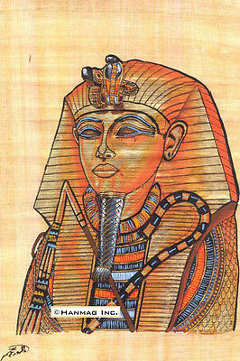 "Egyptian Papyrus Art Painting - King Tut's Mask 8X12"" #6 + Hand-Painted"