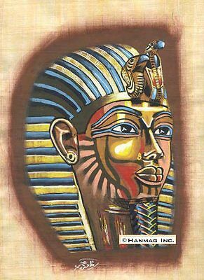 "Egyptian Papyrus Art Painting - King Tut's Mask 8X12"" #12"
