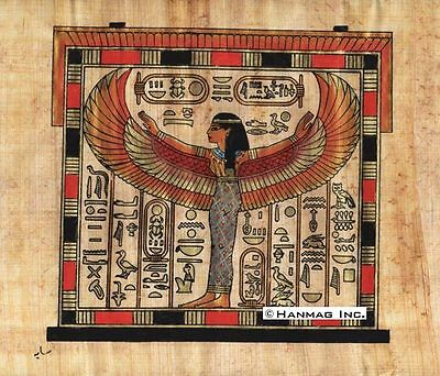 "Egyptian Papyrus Painting - Winged Isis 8X12"" + Hand Painted + Description #46"