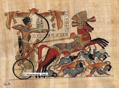 "Egyptian Papyrus Painting - Tutankhamun Fighting 8X12"" + Hand Painted #37"