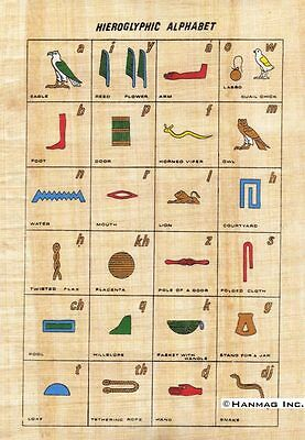 "Egyptian Papyrus Painting - Hieroglyphic Alphabet 8X12"" + Hand Painted #97"