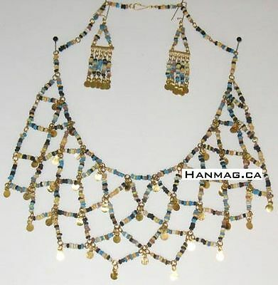 Egyptian Cleopatra Necklace & Earring Set + Hand Beaded + Made In Egypt #153 Mix