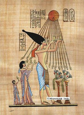 "Egyptian Papyrus Painting - Akhnaton and family offer 8X12"" + Hand Painted #50"