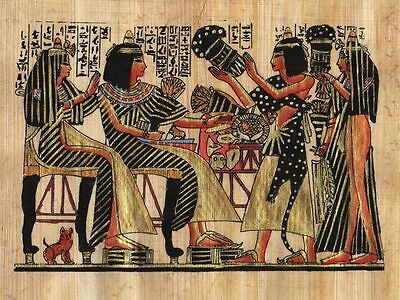 "Egyptian Papyrus Painting - Party and the Cat 7X9"" + Hand Painted #82"