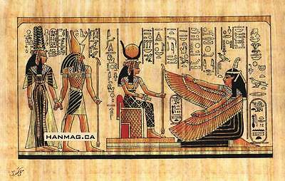 "Egyptian Papyrus Painting - Isis and Winged Maat 7X9"" + Hand Painted #58"
