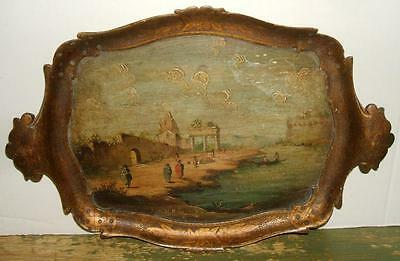 Antique European Hand Painted Wooden Tray