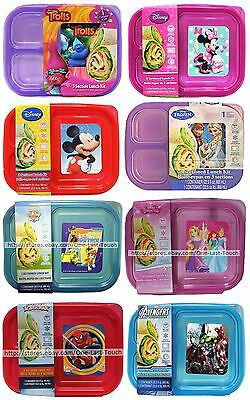 DISNEY+* 22.5 oz Character LUNCH KIT 3 Sectioned BPA FREE Container *YOU CHOOSE*