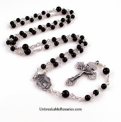 Mary Untier of Knots Rosary Beads Black Onyx by Unbreakable Rosaries