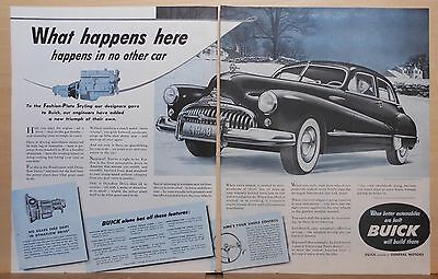1948 two page magazine ad for Buick - Roadmaster in snow with Dynaflow Drive