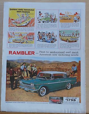1960 magazine ad for Rambler - Syverson cartoon, Sheriff nabs tank robber