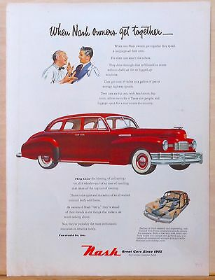 """Vintage 1948 magazine ad for Nash - Nash """"600"""", Enthusiastic owners discuss"""