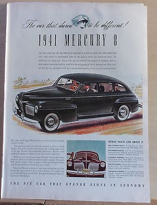 1940 magazine ad for Mercury - 1941 Mercury 8, car that dared to be different