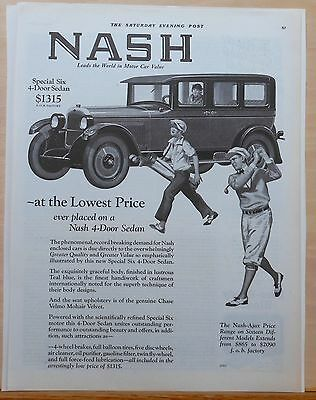 Vintage 1926 magazine ad for Nash - Special Six Sedan & golfers, Greater Quality