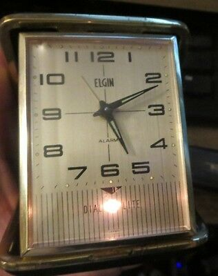 Elgin Travel Alarm Clock Wind Up Dial Lite model Black Case Vtg.