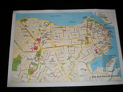 "MODERN MAP of OLD + CENTRAL  HAVANA CUBA  x 2 maps  12"" x 8"""