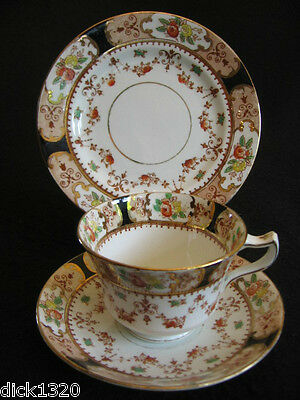 ART NOUVEAU DIAMOND CHINA (BLYTH PORCELAIN) #6442  CUP/SAUCER/PLATE TRIO c.20s