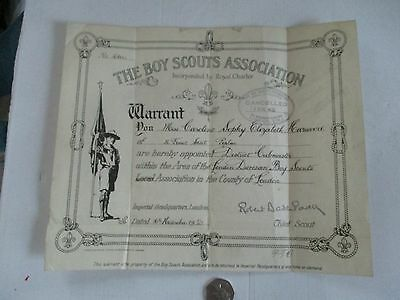 """The Boy Scouts Association """"warrant""""---Signed By R.b-Powell The Chief Scout-1921"""