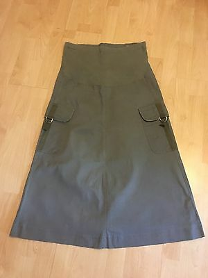 MOTHERCARE MATERNITY Khaki Cargo Style Long Skirt 10 SUPERB CONDITION