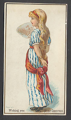 C206 Victorian Xmas Card: Girl with Fan