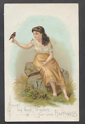 C208 Victorian Greetings Card: Girl with Bird