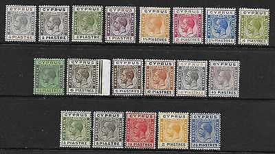 CYPRUS  SG 104/16 & 118/22  1924/28 SET FROM 1/4pi TO 45pi  FINE MOUNTED MINT