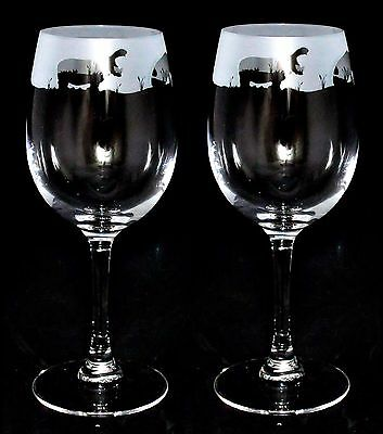 *HIPPO GIFT* Boxed PAIR 35cl CRYSTAL WINE GLASS with HIPPOPOTAMUS Frieze