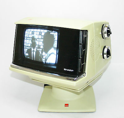 1970S Sharp 5P-Y B/w Television Working Vintage Space Age