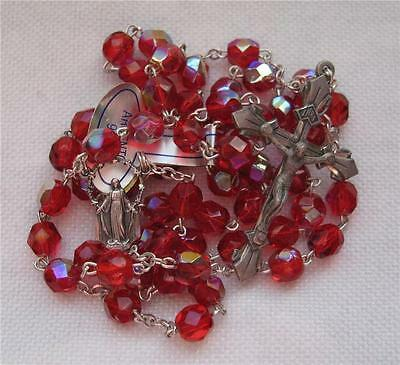 Pretty Vintage Antique Catholic Sterling Silver VALENTINE ROSARY Ruby Red Beads