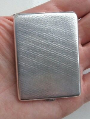 Unusually Large 1928 Engine Turned Solid / Sterling Silver Vesta Case