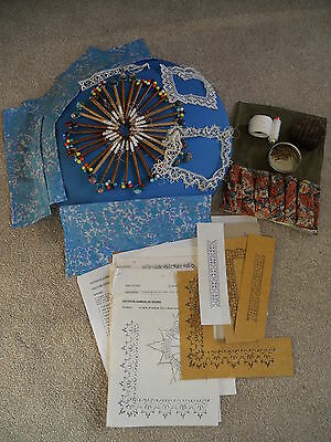 Pillow Lace Making Equipment Includes Pillow,32 Bobbins,pins,patterns & Lace