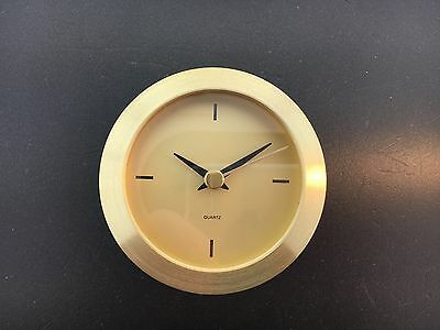 "Brass 2 7/8"" Quartz Battery Fit-Up Insert Clock Movement fits a 2 3/4"" Hole"