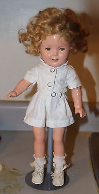 "VINTAGE 1930s IDEAL COMPOSITION SHIRLEY TEMPLE DOLL 13"" CREAM SHORT OUTFIT"