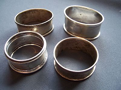 4 Hallmarked Solid Silver Napkin Rings