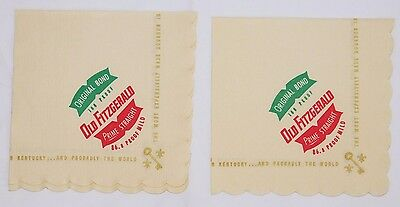 Pair of NOS Vintage Advertising ~Old Fitzgerald~ Bourbon Whiskey Liquor Napkins