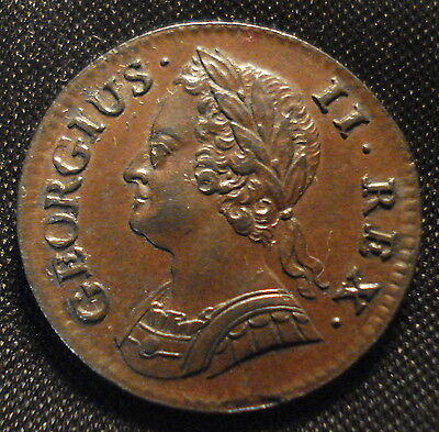 Excellent 1744 George Ii Farthing Superb Detail Very Rare In This Condition