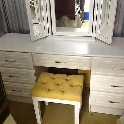 White dressing table with mirror and stool