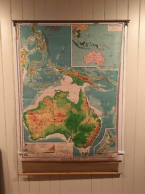 1957 Denoyer-Geppert Cloth Pull Down School Map Australia Antique Vintage