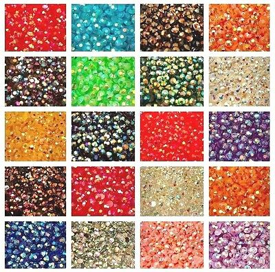 1000 Rhinestones - Crystal AB Flat Back Resin Diamante Gems Crafts Nail Art