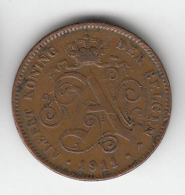 Belgium 2 Cents 1911 Flemish Copper    30K          By Coinmountain