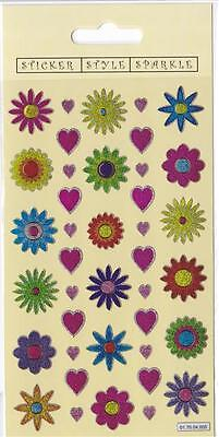 Flower and Hearts Sparkly, Glitter stickers over 40 cardmaking, childrens crafts