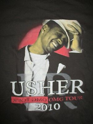 """2010 USHER with Guest MIGUEL TREY SONGZ """"OMG"""" Concert Tour (XL) Shirt"""
