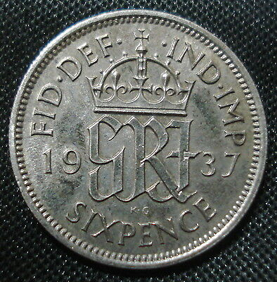 Excellent 1937 George Vi Silver Sixpence Brilliant Uncirculated Condition