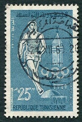 TUNISIA 1960 25m slate and blue SG527 used NG Olympic Games #W1