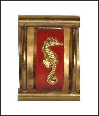 Vintage Deco Red Bakelite And Brass Seahorse Brooch Pin