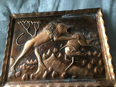 Beautiful  Copper Lion ornate  Tray