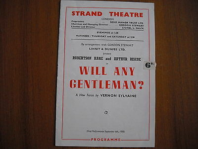 Strand Theatre, London - Will Any Gentleman? - 1950 - Robertson Hare