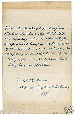 CHARLES DICKENS Signed Note - Author / Writer - Literature - preprint